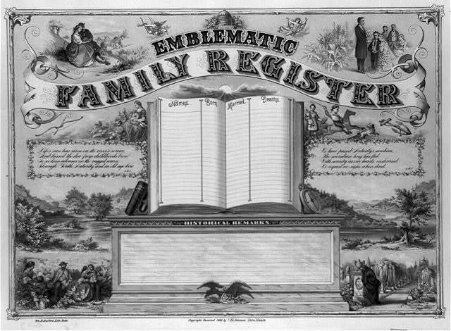 Emblematic family register / Wm. B. Burford, Lith., Inds.