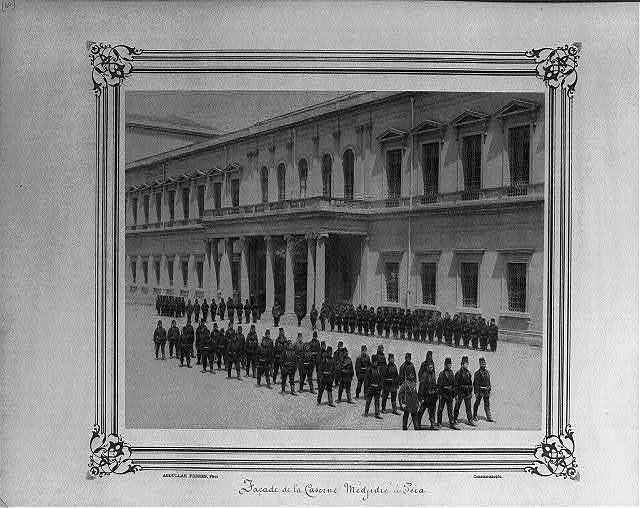[Facade of the Mecidiye Barracks at Pera (Beyoğlu)] / Abdullah Frères, Phot., Constantinople.