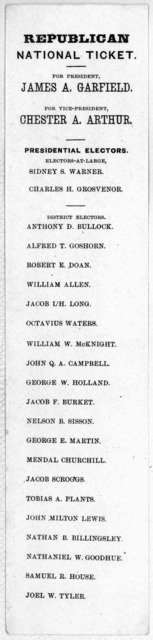 For president James A. Garfield. For Vice President Chester A. Arthur. Presidential electors. Electors at-large. Sidney S. Warner. Charles H. Grosvenor. District electors. Anthony D. Bullock. Alfred T. Goshorn. Robert E. Dorn ... [1880].