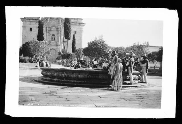 Fountain in front of the curch, Guadaloupe [i.e. church, San Luis Potosi]