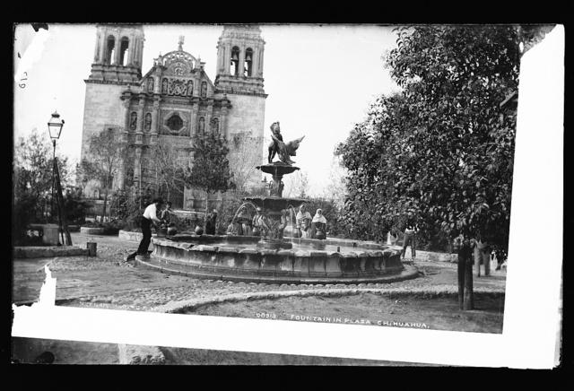 Fountain in plaza, Chihuahua