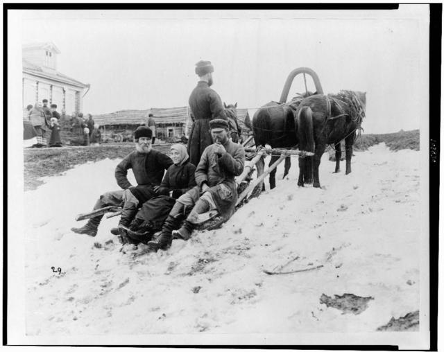 [Four people on troika, in snow, Russia]