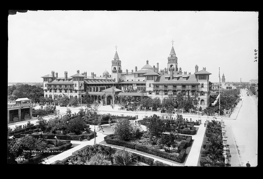 Front view and entrance, [Ponce de Leon Hotel, St. Augustine]