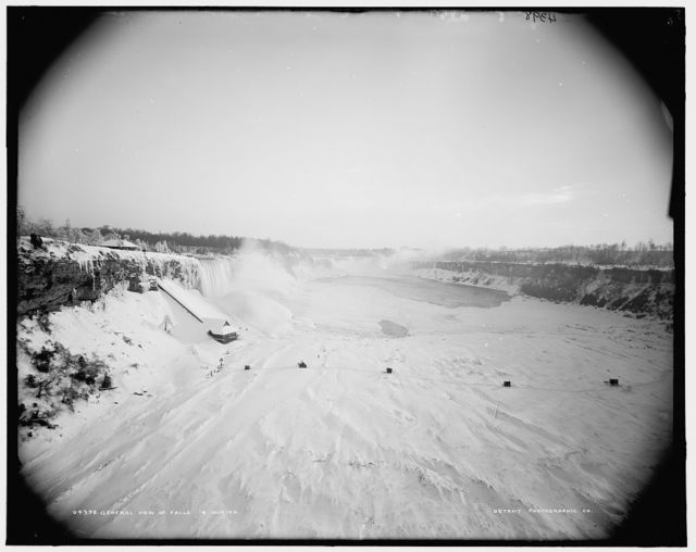General view of falls in winter
