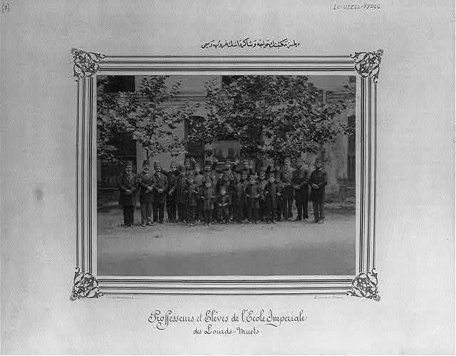 [Group photograph of the students and the teachers of the school for the deaf] / Abdullah Frères, Constantinople.
