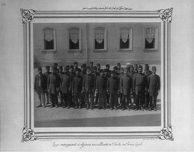 [Group photograph of the teachers and the director of the Imperial School of Civil Engineering] / Abdullah Frères, Constantinople.