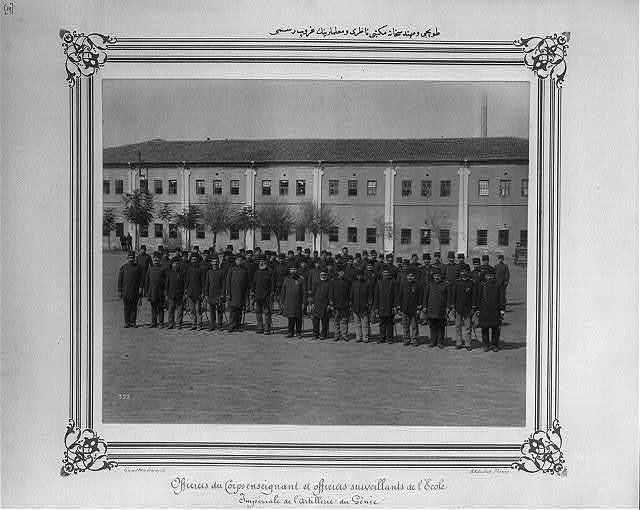[Group photograph of the teachers and the director of the school for artillery engineering] / Abdullah Frères, Constantinople.