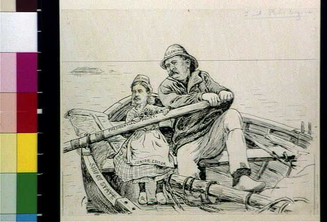 "[Grover Cleveland as fisherman helping ""The Post"" girl with ""presidential policy"" oar on ""ship of state""]"