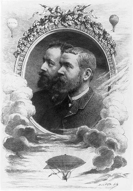 """[Head-and-shoulders portrait of French balloonists Albert Tissandier (left) and Gaston Tissandier (right) inside an oval, with vignettes above of balloons """"Zenith"""" and """"Jean Bart"""" and an airship below] / Boulard, fils."""