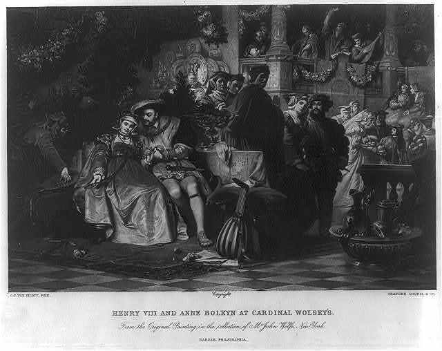 Henry VIII and Anne Boleyn at Cardinal Wolsey's - from the original painting in the collection of Mr. John Wolfe, New York / C.T. von Piloty, pinx. ; gravure Goupil & Co.
