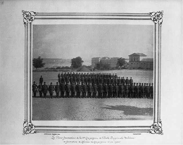 """[Infantry students of the first company at the Imperial Military Academy,""""en colonne campagnie"""" and at rest] / Abdullah Frères, Phot., Constantinople."""