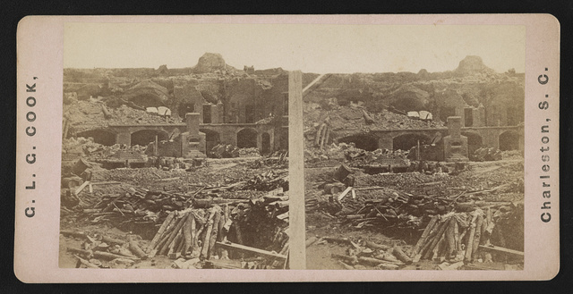 Interior of Sumter, 1864(i.e. 1863) - furnace, officer's barracks, half ruined walls and dismounted cannon