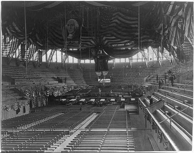 Interior view of the great exposition building, in Chicago, decorated for the Republican Convention, June 2nd, 1880