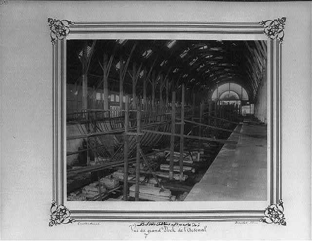 [Interior view of the Valide Shipyard at the Imperial Naval Arsenal] / Constantinople, Abdullah Frères.