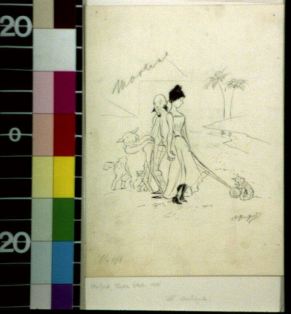 [Lady with pet snail and man with sidewhiskers walking a sheep]