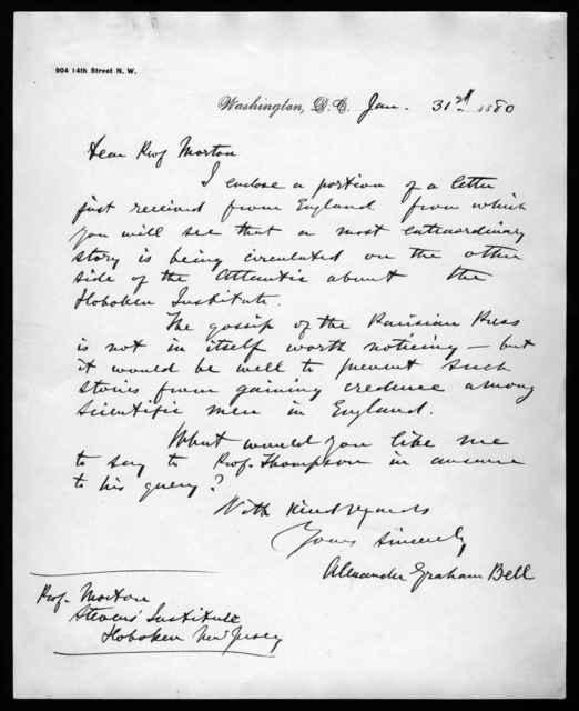 Letter from Alexander Graham Bell to Professor Morton, January 31, 1880