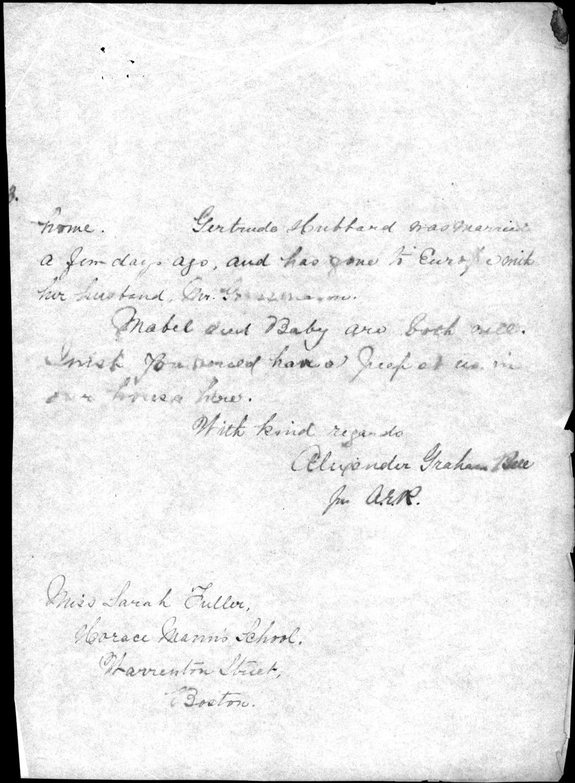 Letter from Alexander Graham Bell to Sarah Fuller, January 30, 1880