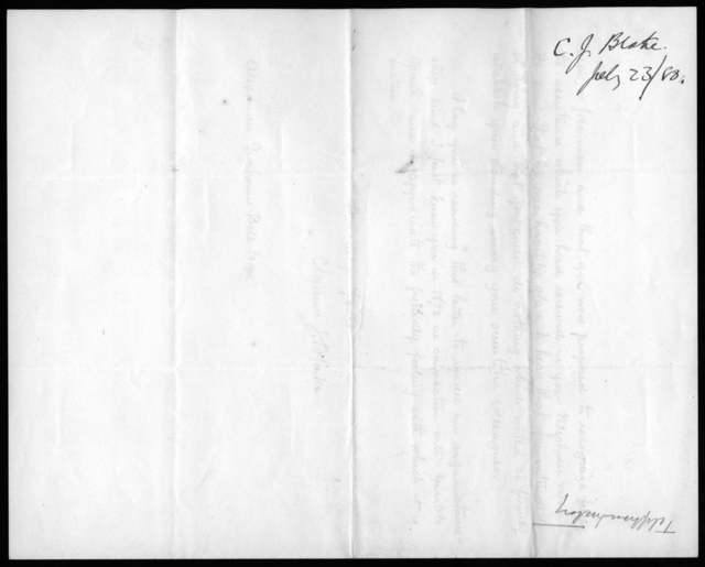 Letter from Clarence J. Blake to Alexander Graham Bell, July 23, 1880