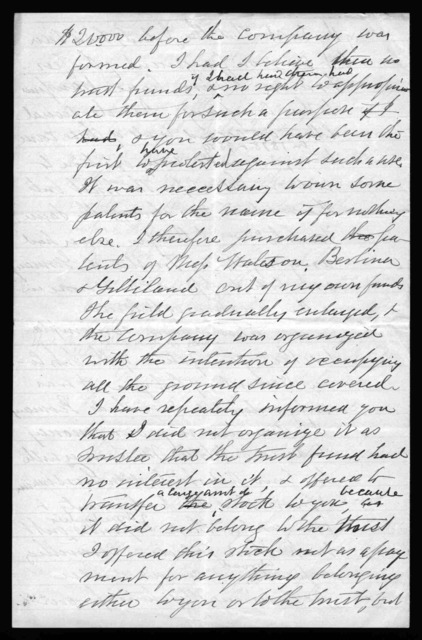 Letter from Gardiner Greene Hubbard to Alexander Graham Bell, July 1880