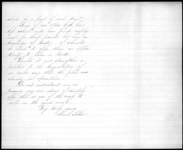Letter from Sarah Fuller to Alexander Graham Bell, February 23, 1880