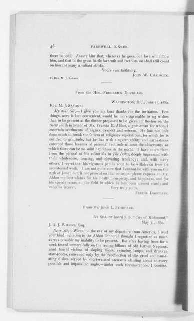 Letter Written for the Farewell Dinner for Francis Ellingswood Abbot