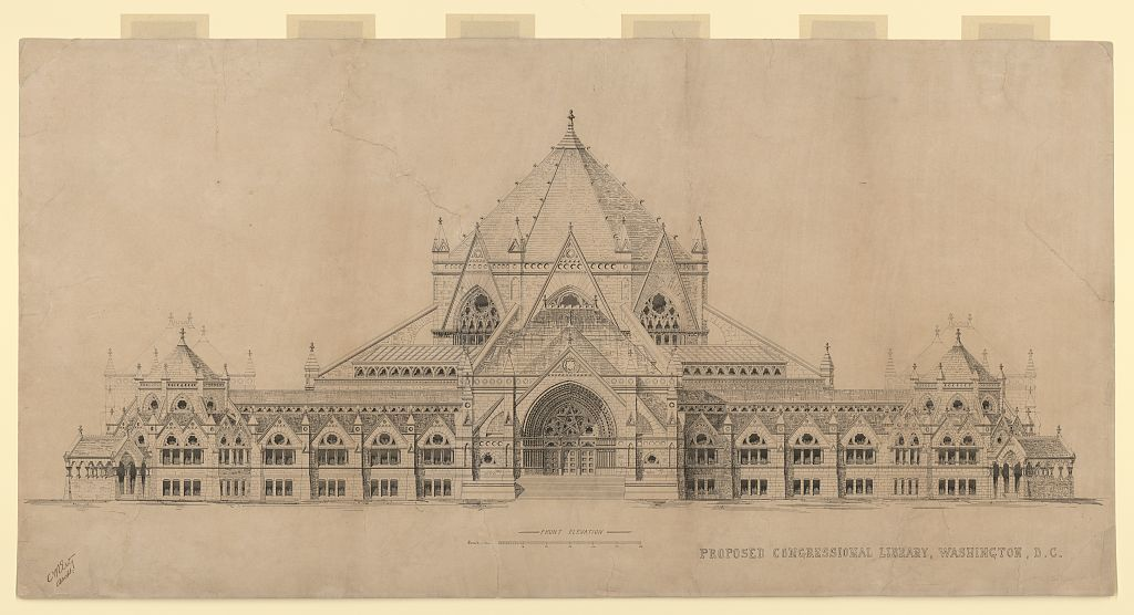 """[Library of Congress (""""Congressional Library""""), Washington, D.C. Front elevation] / A.R. Esty archt."""