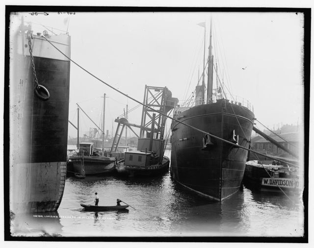 Loading steamers in Montreal harbor