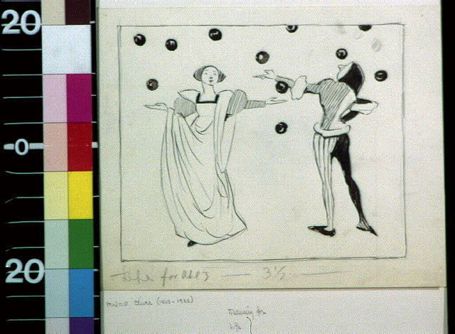 [Man and woman in medieval dress juggling]