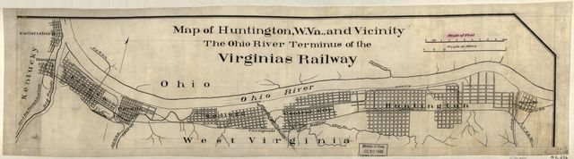 Map of Huntington, W. Va., and vicinity, the Ohio River terminus of the Virginias Railway.