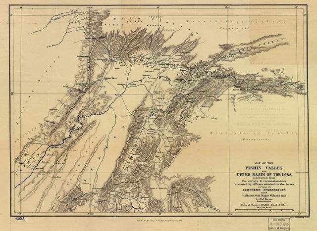 Map of the Pishin Valley and the upper basin of the Lora : constructed from the surveys & reconnaissances executed by officers attached to the forces serving in southern Afghanistan /