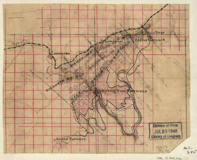 [Map showing the location of Roaring Run Furnace lands in Alleghany County, Virginia, nearing Covington].