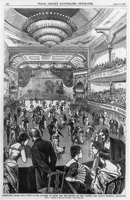 Maryland - Grand ball given in the Academy of Music for the benefit of the Nursery and Child's Hospital, Baltimore / from a sketch by Walter Goater.