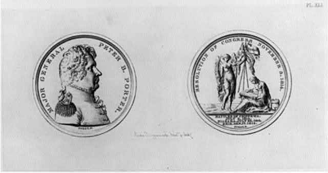 "[Medallion honoring Maj. Gen. Peter Buel Porter: obverse shows profile bust; reverse shows patriotic allegorical illus. and ""Resolution of Congress, November 3, 1814"" for 3 battles in War of 1812 - Chippewa, Niagara, and Erie (July-Sept. 1814)]"