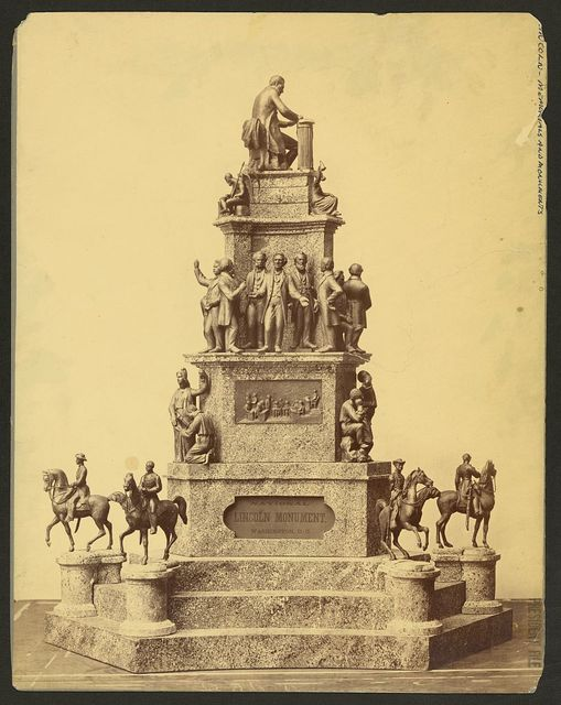 [National Lincoln Monument, Washington, D.C.  Model for four-tiered stone monument with metal sculptures at each level, Lincoln at top]