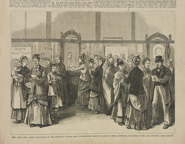 New York City, Irish depositors of the Emigrant Savings Bank withdrawing money to send to their suffering relatives in the old country