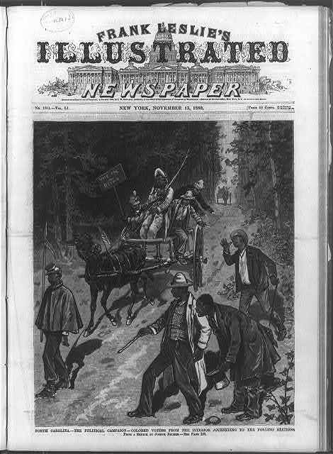 North Carolina - The Political Campaign - Colored Voters from the Interior Journeying to the Polling Stations [Republican Negroes on wagon and Democratic Negroes on foot taunting each other]