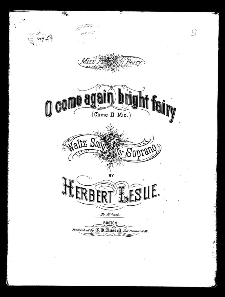 O come again bright fairy