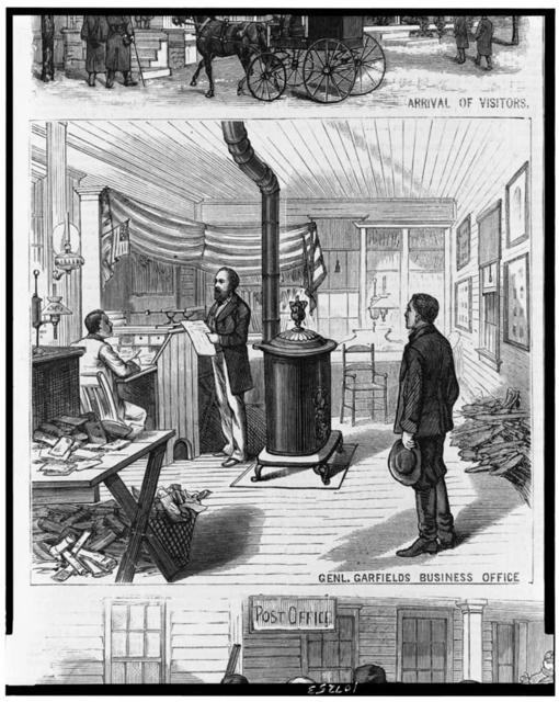 Ohio.  The busy life of a president-elect of the United States--General Garfield at his home at Mentor.  Gen. Garfield's business office