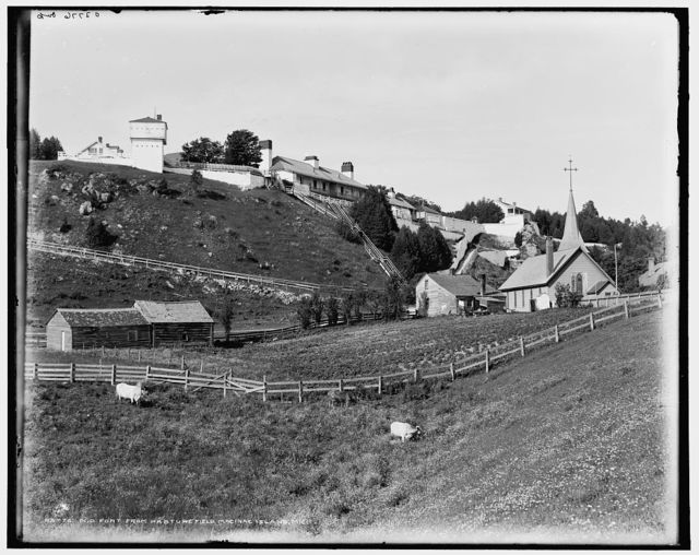 Old Fort [Mackinac] from pasture field, Macinac [sic] Island, Mich.