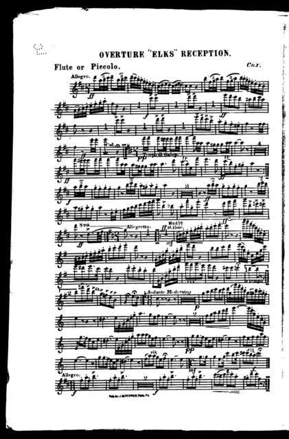 Overture Elks reception [orchestra]