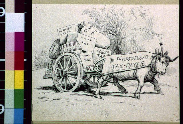 "[Ox as ""ye oppressed tax-payer"" pulling cart of municipal, county, poor, state, courthouse, road, school, and local taxes]"