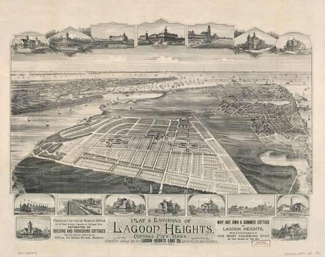 Plat & environs of Lagoon Heights, Cottage City, Mass. : showing property owned by the Lagoon Heights Land Co., 53 State St., 610 Exchange B'd'g., Boston, Mass.