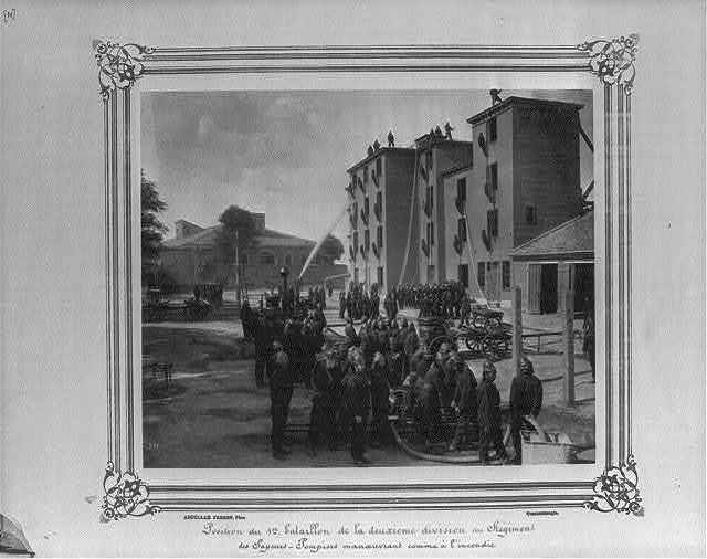 [Position of the First Battalion of the Second Division of the Fire Brigade drilling as if at a fire] / Abdullah Frères, Phot., Constantinople.