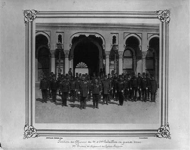 [Position of the officers of the First and Second Battalion in full dress. Second Division of the Fire Brigade] / Abdullah Frères, Phot., Constantinople.