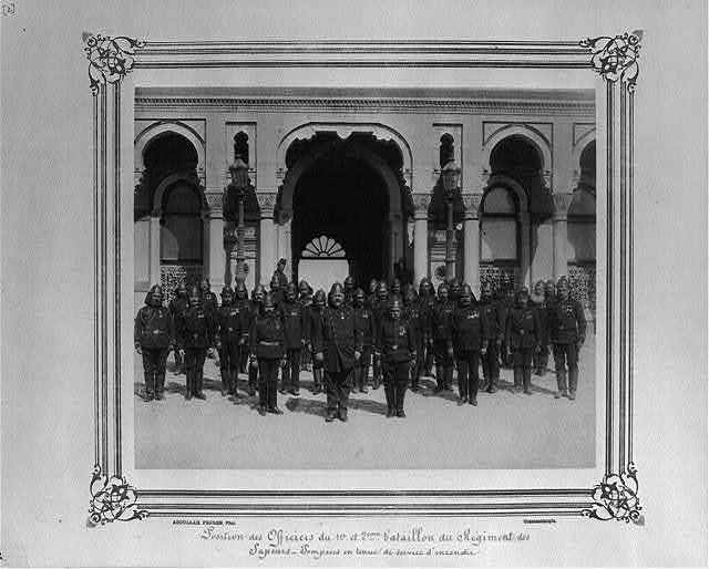 [Position of the officers of the First and Second Battalion of the Fire Brigade in full dress for fire duty] / Abdullah Frères, Phot., Constantinople.
