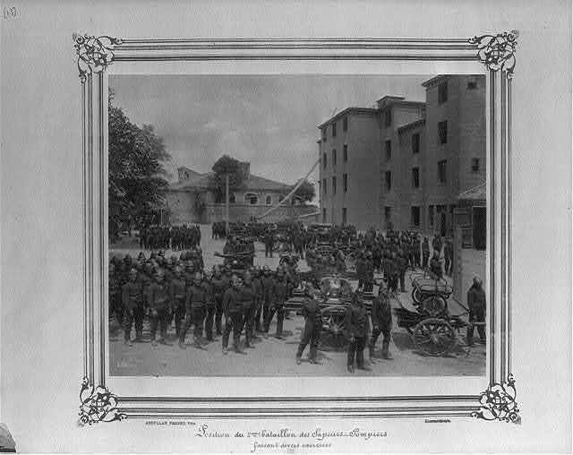 [Position of the Second Battalion of the Fire Brigade doing various exercises] / Abdullah Frères, Phot., Constantinople.
