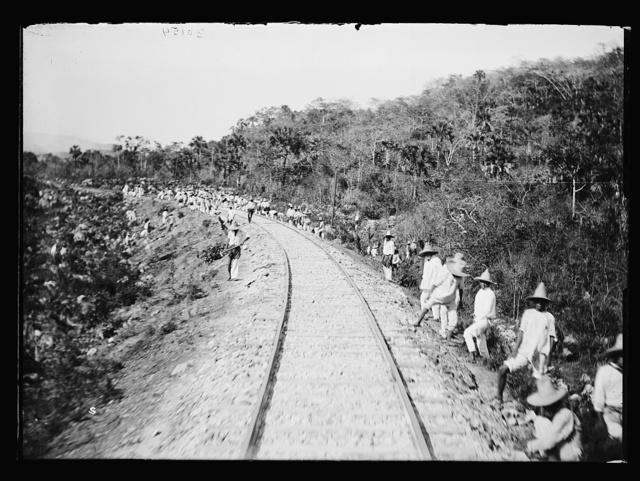 [Railroad crew and tracks, Mexico]
