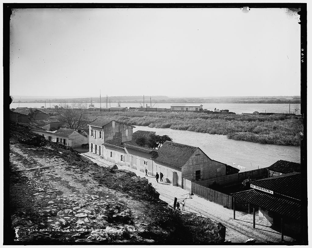 Railroad grounds from the bluff, Tampico