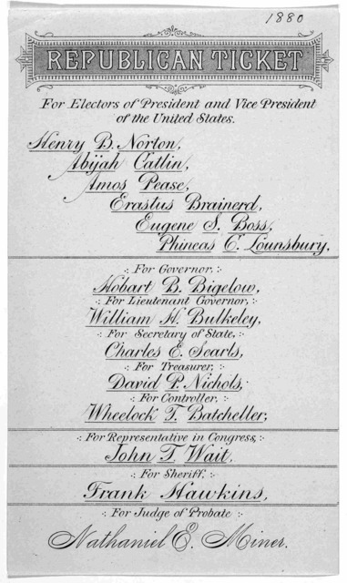 Republican ticket. For electors of president and vice president of the United States. Henry B. Norton, Abijah Catlin, Amos Pease, Erastus Brainerd, Eugene S. Boss, Phineas C. Lounsbury. For Governor: Hobart B. Bigelow ... [s. l., 1880].