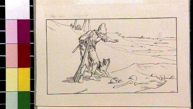 [Robinson Crusoe and dog looking at skeleton in sand]